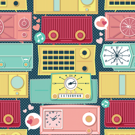 Turn the vintage radios on // small scale fabric by selmacardoso on Spoonflower - custom fabric