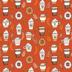 SMALL - pumpkin spice latte fabric coffee and donuts fall autumn traditions rust