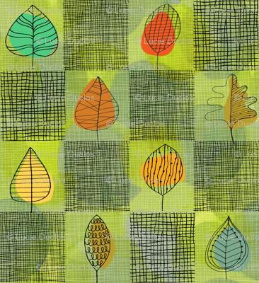 Leafy Retro Plaid