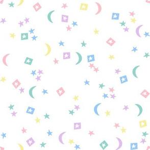 rainbow stars // moon, star, rainbow, pastels,  nursery, baby, neutral kids, baby