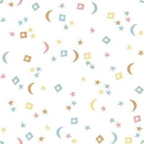 rainbow stars // moon, star, rainbow, earth tone, nursery, baby, neutral kids, baby