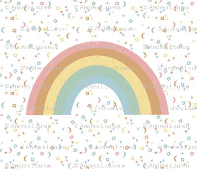 "42""x 36"" Rainbow Blanket - One Yard Panel (42"" wide fabrics only) - rainbow, earth tones, stars, magic, nursery, baby, cute, moon,"