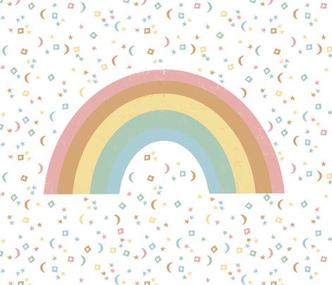 "42""x 36"" Rainbow Blanket - One Yard Panel (42"" wide fabrics only) - rainbow, earth tones, stars, magic, nursery, baby, cute, moon,  fabric by andrea_lauren on Spoonflower - custom fabric"