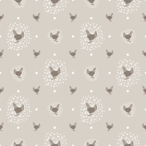Farmhouse Chicken Polka Dot + Doodle Print // Sing for Your Supper // Modern Farmhouse Collection fabric by zirkus_design on Spoonflower - custom fabric
