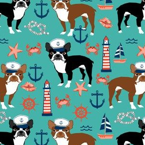 boston terrier dog fabric, nautical summer lighthouse design - turquoise
