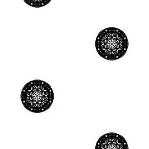 Dressy Black Button Spots on White