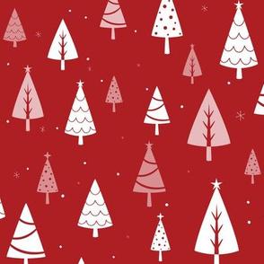 Retro Christmas Tree Pattern on Red