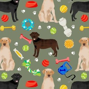 labrador retriever toys // dog, dogs, dog fabric, black lab, yellow lab, chocolate lab, dog dog design - green