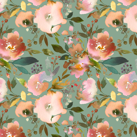 "2"" autumn fall floral sage  fabric by lil'faye on Spoonflower - custom fabric"
