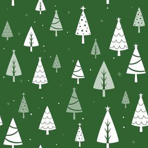 Retro Christmas Tree Pattern on Green