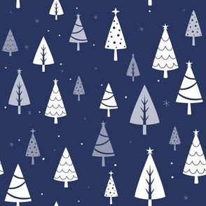 Retro Christmas Tree Pattern on Blue