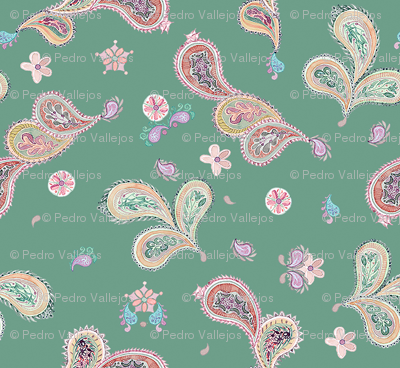 Country watercolor Paisley - green