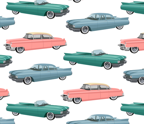 Retro cars (large scale) fabric by svetlana_prikhnenko on Spoonflower - custom fabric
