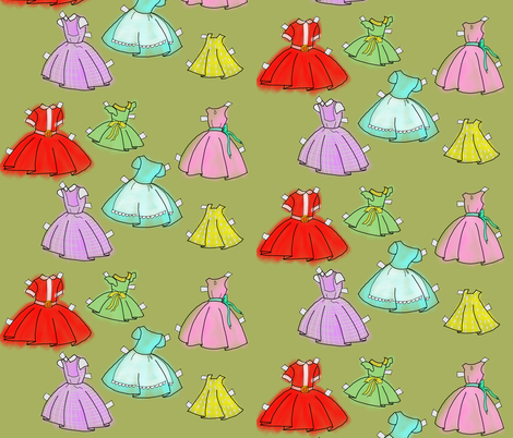 1950s paper doll dresses fabric by mikeygirl13 on Spoonflower - custom fabric