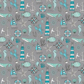 Nautical Doodle with whale,lighthouse,Anchor Mint Aqua Blue on Dark Grey Smaller 1,5 inch