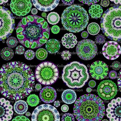 Boho Blooms Glow Green