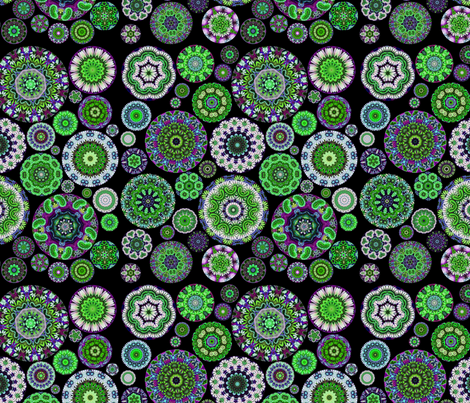 Boho Blooms Glow Green fabric by amy_kollar_anderson on Spoonflower - custom fabric