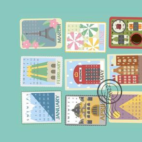 Postcard Calendar Tea Towel 2022