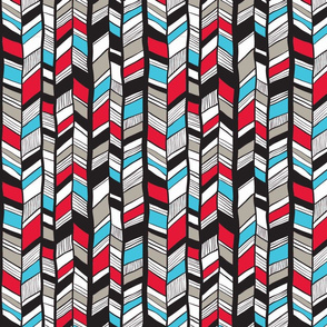 Native American Chevron Turquoise Red