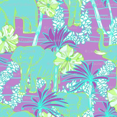 Tropical Elephants with Flower Leis & Palms Purple