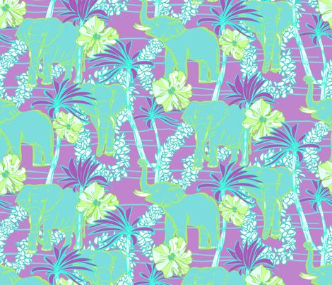 Tropical Elephants with Flower Leis & Palms Purple fabric by lauriekentdesigns on Spoonflower - custom fabric