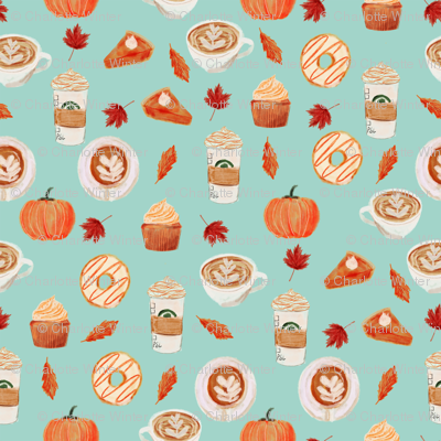 SMALL - watercolor psl - pumpkin spice latte, coffee, latte, pumpkin, fall, autumn fabric - mint