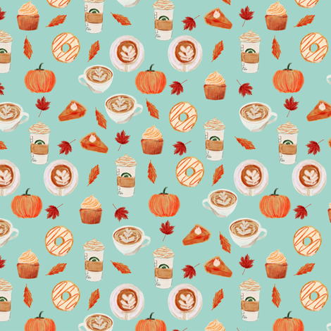 SMALL - watercolor psl - pumpkin spice latte, coffee, latte, pumpkin, fall, autumn fabric - mint fabric by charlottewinter on Spoonflower - custom fabric