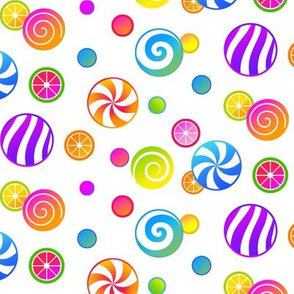 Colorful Candies on White
