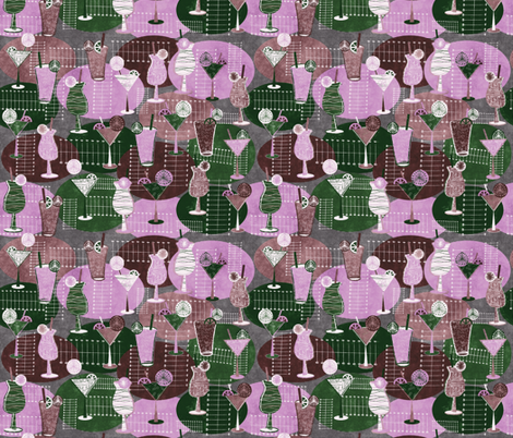 1950s-cocktails violet fabric by kociara on Spoonflower - custom fabric