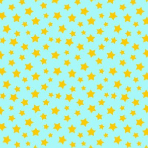 Stars Yellow on Light Blue