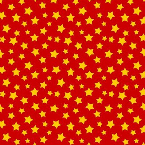 Stars Yellow on Red