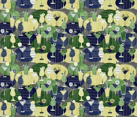 1950s-cocktails green and blue fabric by kociara on Spoonflower - custom fabric