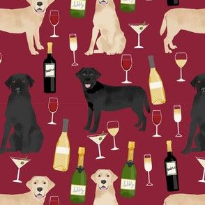 labrador wine fabric - black and yellow labs wine, white wine, red wine cute dogs