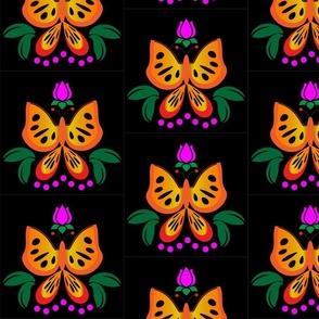 Bright Butterflies on Black