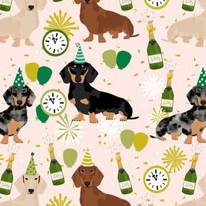 dachshund new years eve print - cute dog, dogs, nye, clock, midnight, celebration, champagne