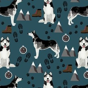 husky hiking fabric - dark navy blue husky, mountains, dog, hiking, trail fabric