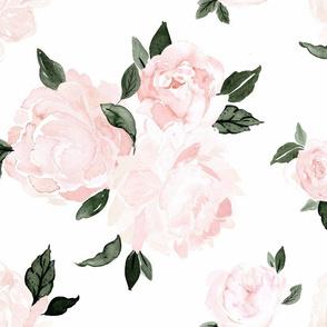 vintage pink floral dark green - white