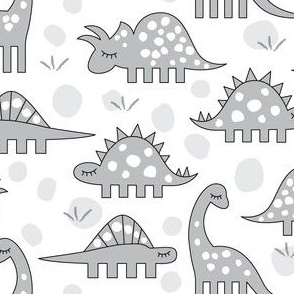 grey dinos on white