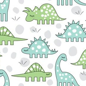 green and blue dinos on white