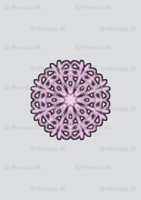 Dainty Pink Dolly Doilies on Silver Mist - Small Scale