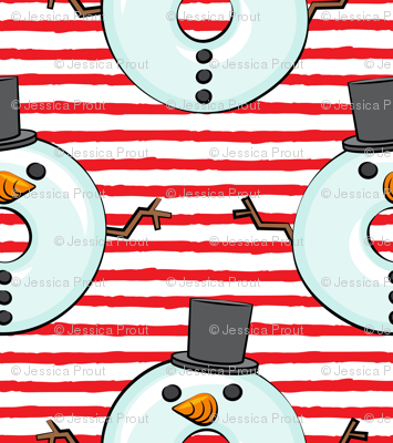 snowman donuts - red stripes - Christmas & winter