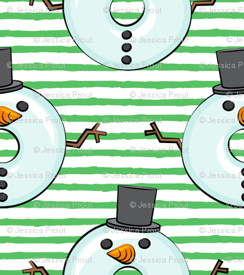 snowman donuts - green stripes - Christmas & winter