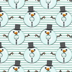 snowman donuts - mint stripes - Christmas & winter