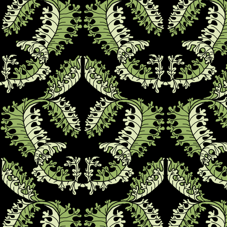 Acanthus Leaf Damask on Black fabric by eclectic_house on Spoonflower - custom fabric
