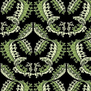 Acanthus Leaf Damask on Black