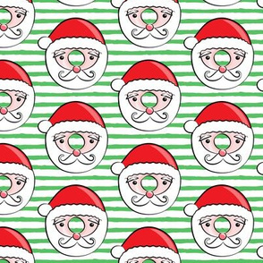 Santa donuts -  green stripes - Christmas & winter
