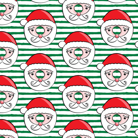 Santa donuts - dark green stripes - Christmas & winter  fabric by littlearrowdesign on Spoonflower - custom fabric