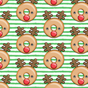 Reindeer donuts - light green stripes - Christmas & winter