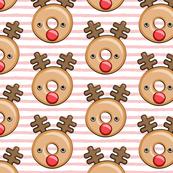 Reindeer donuts - pink stripes - Christmas & winter