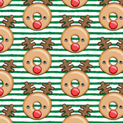 Reindeer donuts - dark green stripes - Christmas & winter